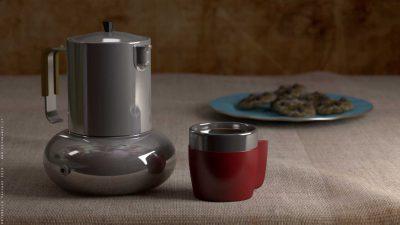 Caffettiera, tazzina e biscotti – Blender