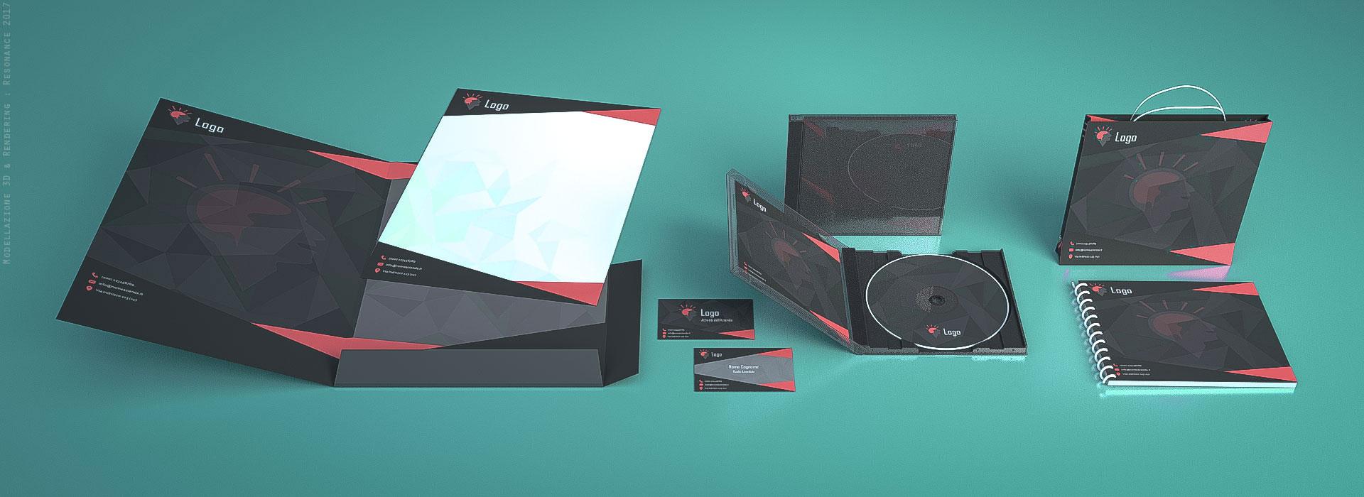 Immagine 3D di carta intestata, biglietti da visita, brochure, grafica pubblicitaria