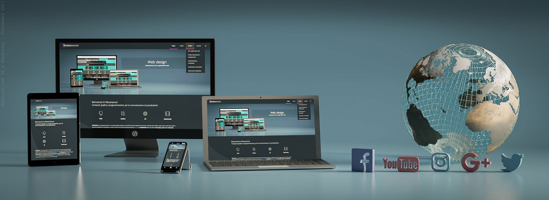 Immagine in 3D di siti web responsive su notebook, tablet, cellulare, e icone social - Venaria, Torino